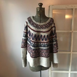 Sleeping on Snow Anthro Fair Isle Poncho Sweater